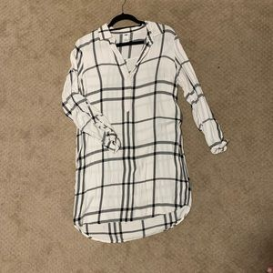 White and Black Plaid Dress
